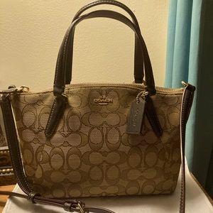 Coach Mini Kelsie Signaure khaki/brown leather